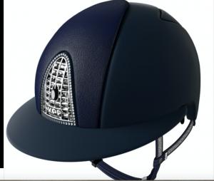 Kep Italia Polo rijhelm Cromo T Blue Leather & Chinstrap Crystal
